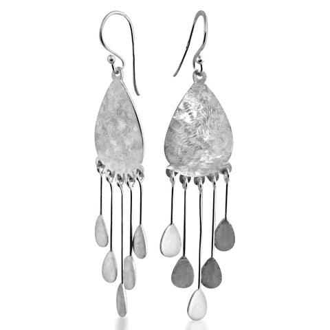 Brushed silver festive earrings