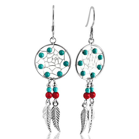 Turquoise sterling silver feathered earrings