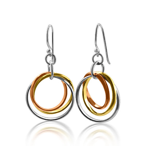 Sterling silver, rose & yellow gold filled entwined earrings