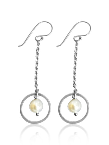 Lovely pearl chain drop earrings