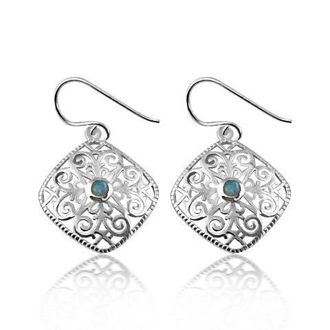 Beautiful festive earrings with blue opalite stone