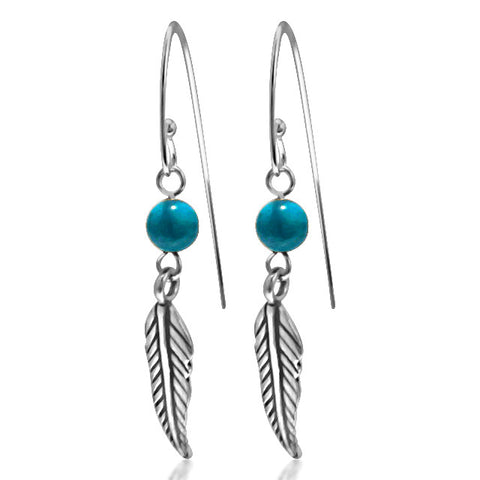 Torquoise sterling silver feather earrings