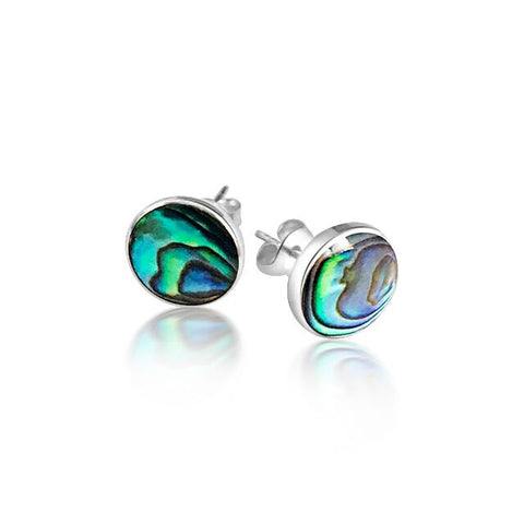 Circle paua stud earring