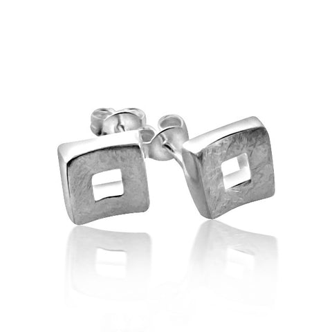 Brushed sterling silver square stud earrings
