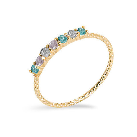 14 carat gold filled multi-coloured cubic zirconia stackable ring