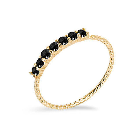 14 carat gold filled black cubic zirconia stackable ring