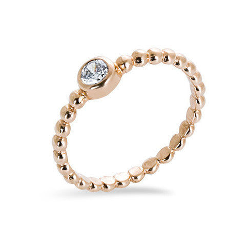 14 carat rose gold filled balls cubic zirconia stackable ring