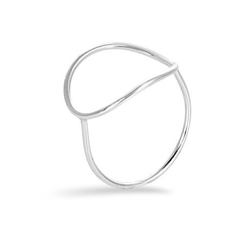 Sterling silver oval cutout ring