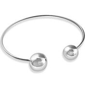 Silver two ball bangle