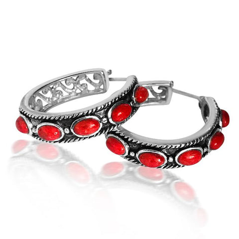 Amore red hoop earrings