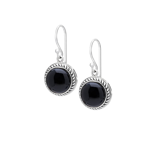 Black onyx & sterling silver drop earrings