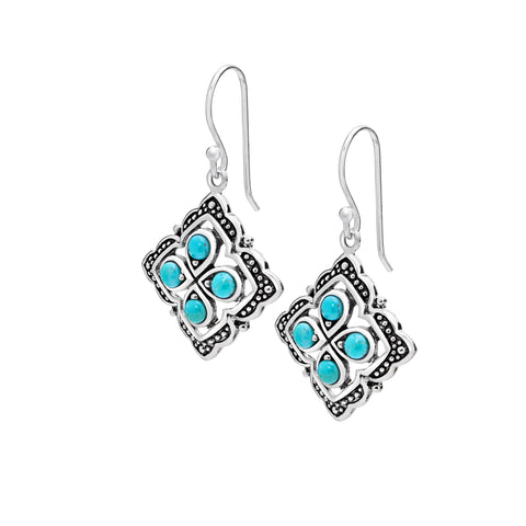 Turquoise & sterling silver quarter earrings