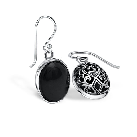 Sterling silver & onyx oval drop earrings