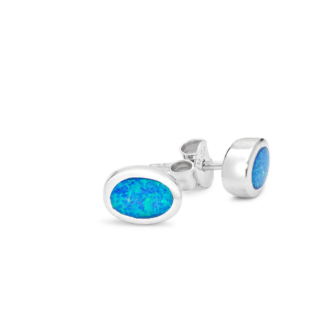 Sterling silver synthetic oval blue opal earrings