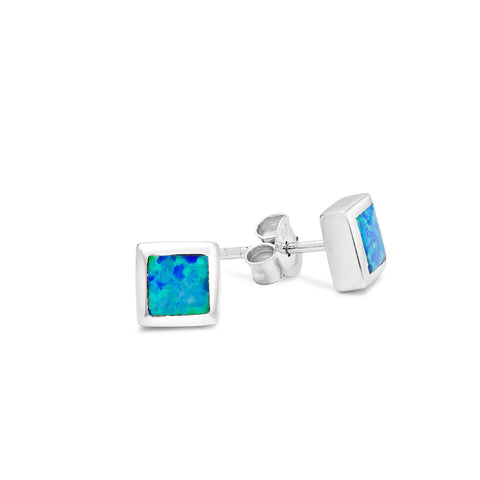 Sterling silver synthetic square blue opal earrings