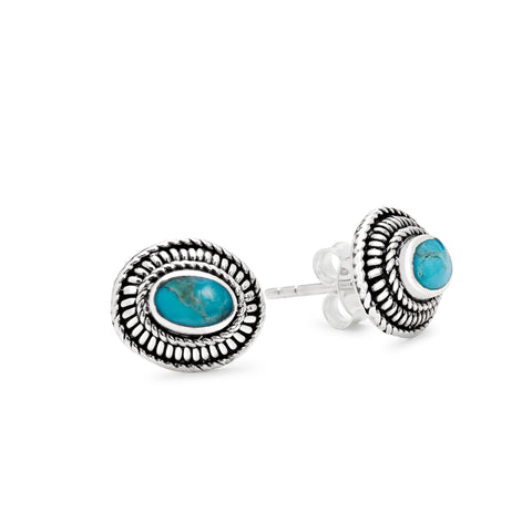 Sterling silver & turquoise woven stud earrings