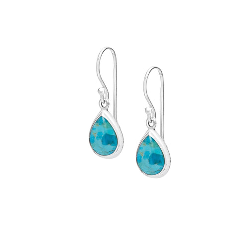 Sterling silver & turquoise tear drop earring