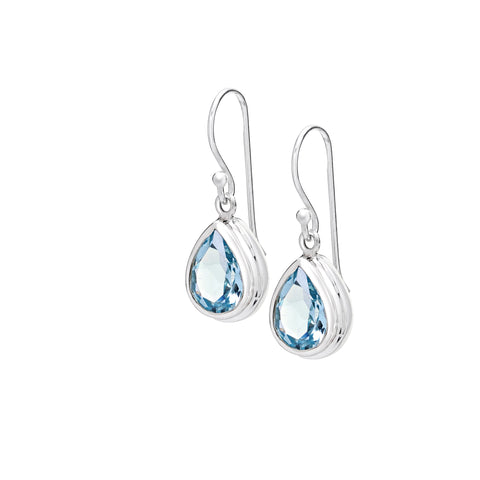 Sterling silver & blue topaz pear shape earrings