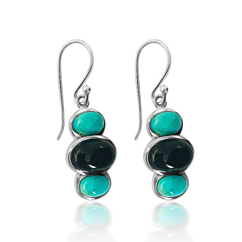 Turquoise, onyx & sterling silver tri-stone earring