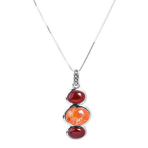 Carnelian, coral & sterling silver tri-stone necklace