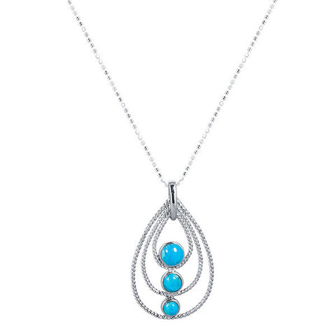 Tri-stone turquoise & sterling silver pear drop necklace