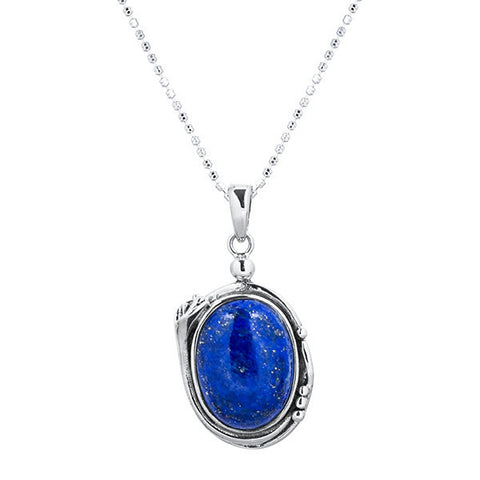 Fancy cabochon lapiz sterling silver necklace
