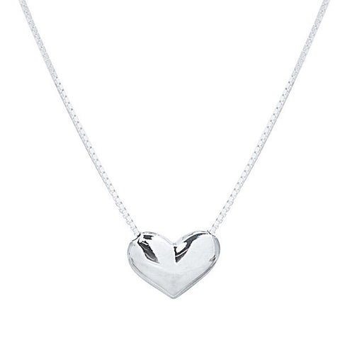 Sterling silver heart necklace on box chain