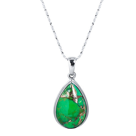 Green turquoise pear cabochon sterling silver necklace