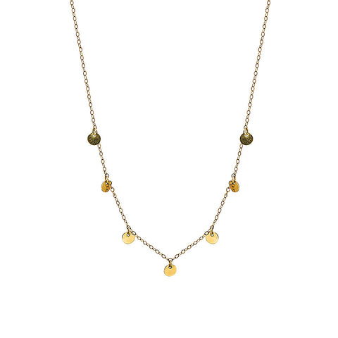 14 carat gold filled 7 circle necklace