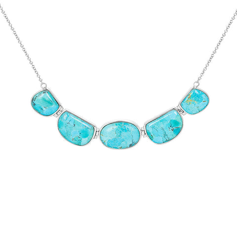 Turquoise & sterling silver pebble necklace