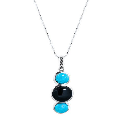 Turquoise, onyx & sterling silver drop tri-stone necklace