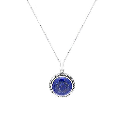 Lapiz and sterling silver woven necklace