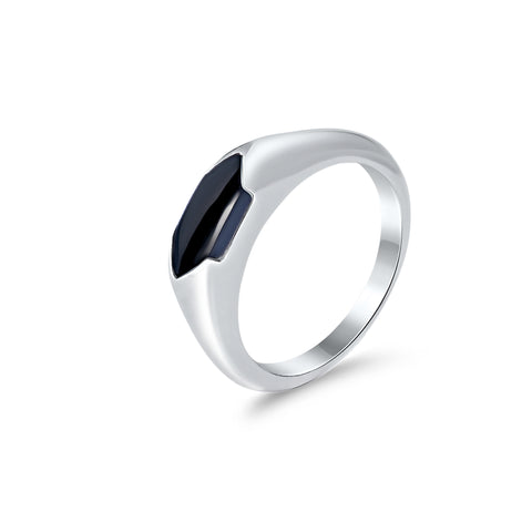Sterling silver & black onyx ring