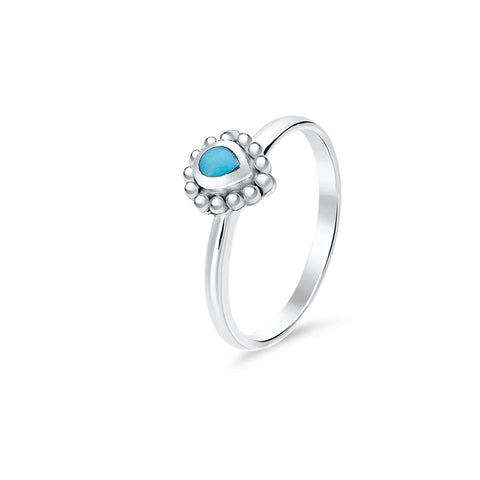 Turquoise & sterling silver tear drop ring