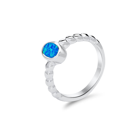 Blue opal & sterling silver braid ring