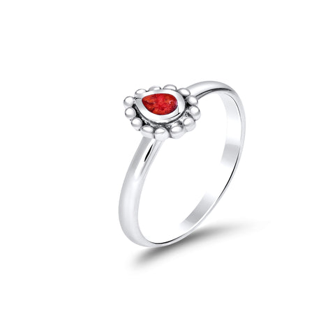 Red coral & sterling silver tear drop ring