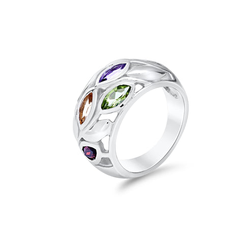 Sterling silver multistone ring