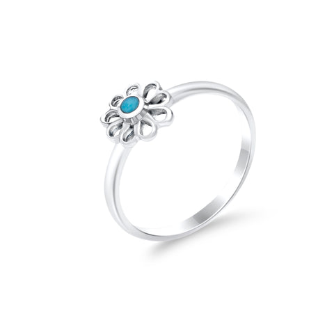 Petite turquoise flower & sterling silver ring