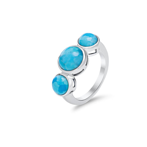 Turquoise & sterling silver triple stone ring