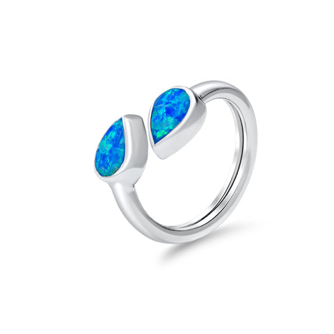 Blue opal twin stone ring