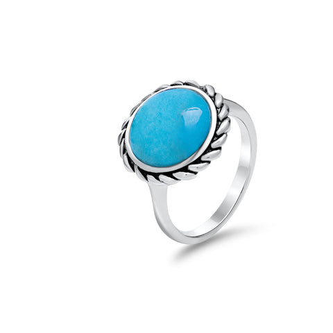Turquoise & sterling silver braid ring