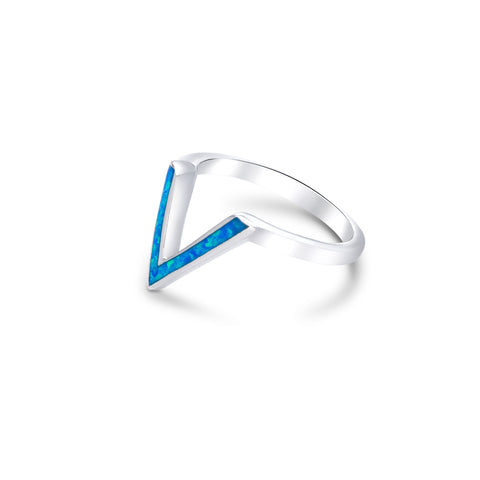 Silver V shape synthetic opal ring
