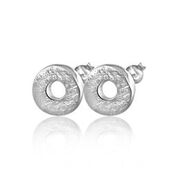 Round brushed silver stud earrings