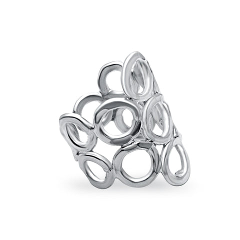 Large honeycomb sterling silver ring