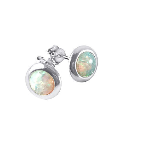 Opalite white sterling silver earrings