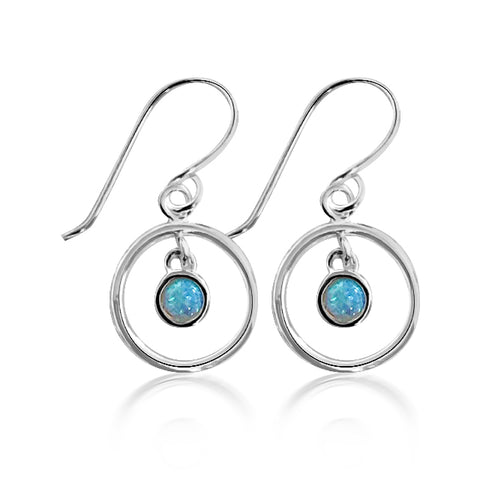 Blue opalite sterling silver earrings