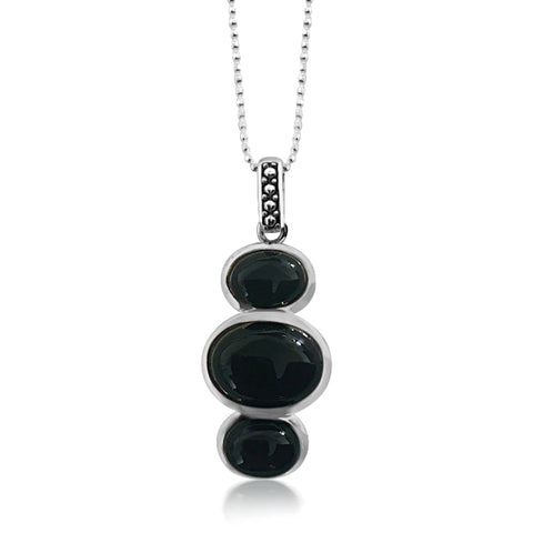 Onyx tri-stone necklace