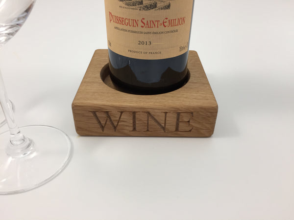 oak wine coaster