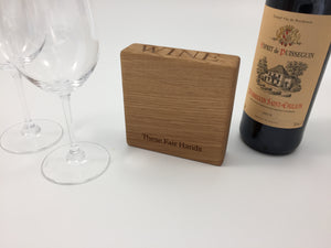 oak wine coaster underside