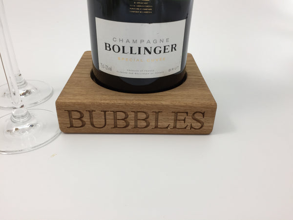 SOLID OAK CHAMPAGNE COASTER